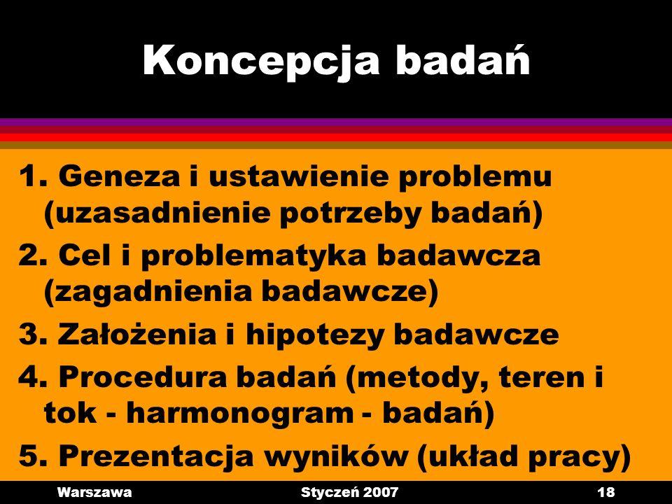 Koncepcja badań 1. Geneza i ustawienie problemu (uzasadnienie potrzeby badań) 2. Cel i problematyka badawcza (zagadnienia badawcze)