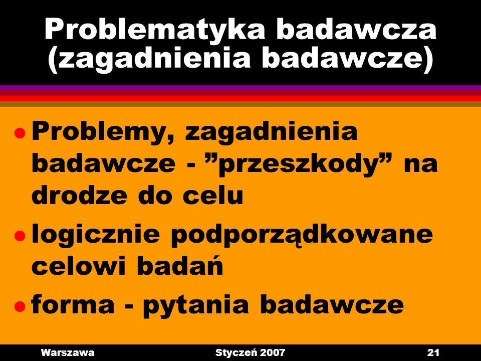 Problematyka badawcza (zagadnienia badawcze)