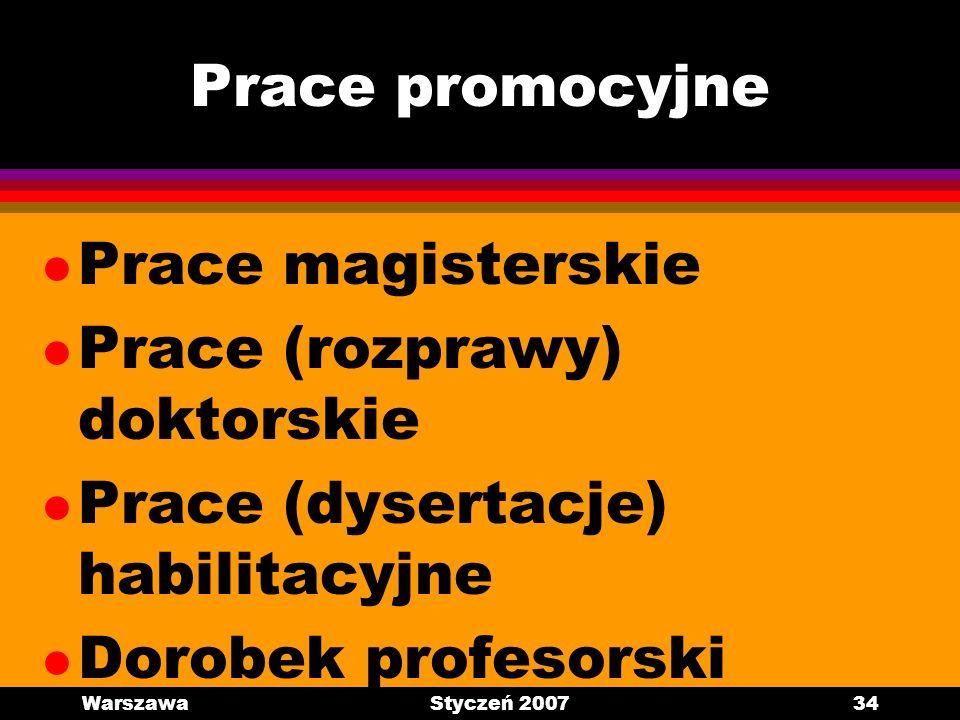 Prace (rozprawy) doktorskie Prace (dysertacje) habilitacyjne