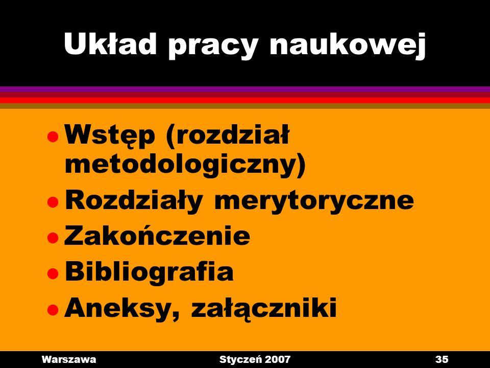 Układ pracy naukowej Wstęp (rozdział metodologiczny)