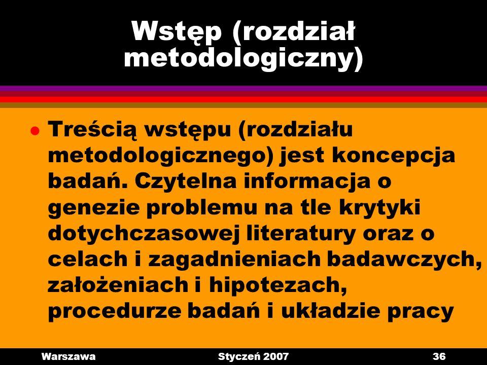 Wstęp (rozdział metodologiczny)