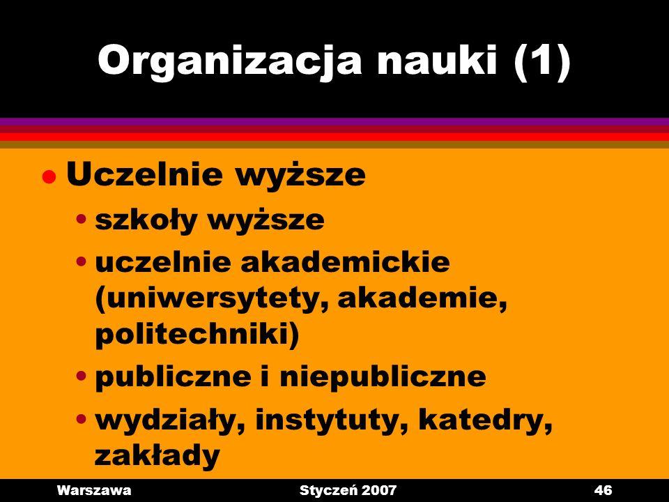 Organizacja nauki (1) Uczelnie wyższe szkoły wyższe