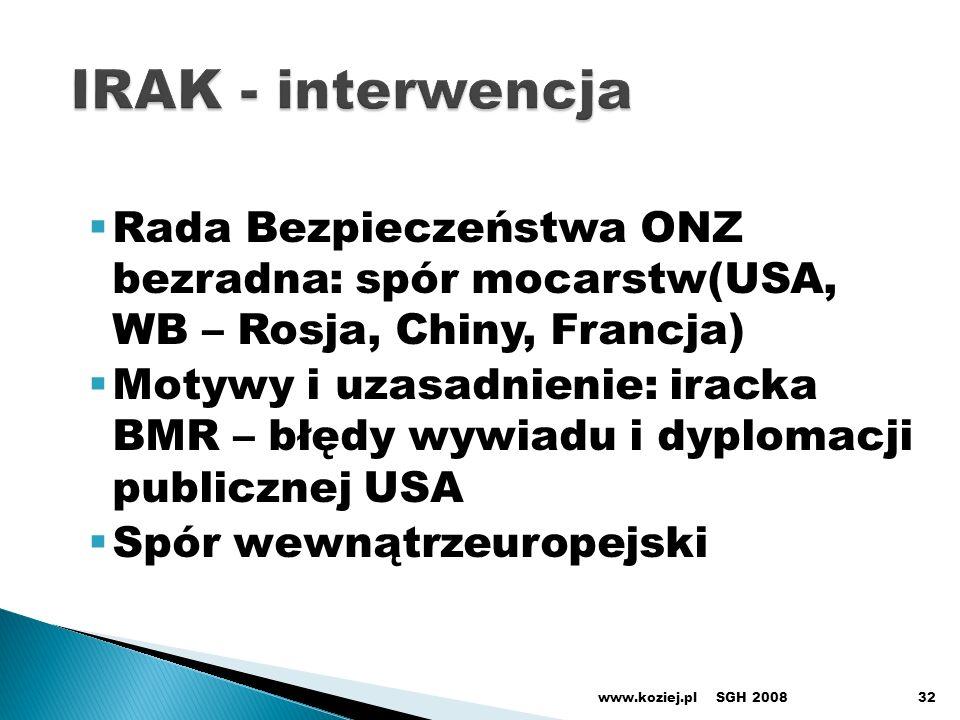IRAK - interwencja Rada Bezpieczeństwa ONZ bezradna: spór mocarstw(USA, WB – Rosja, Chiny, Francja)