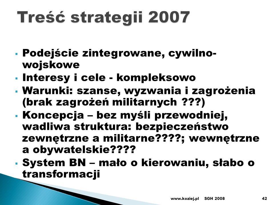 Treść strategii 2007 Podejście zintegrowane, cywilno- wojskowe