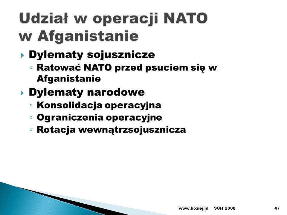 Udział w operacji NATO w Afganistanie