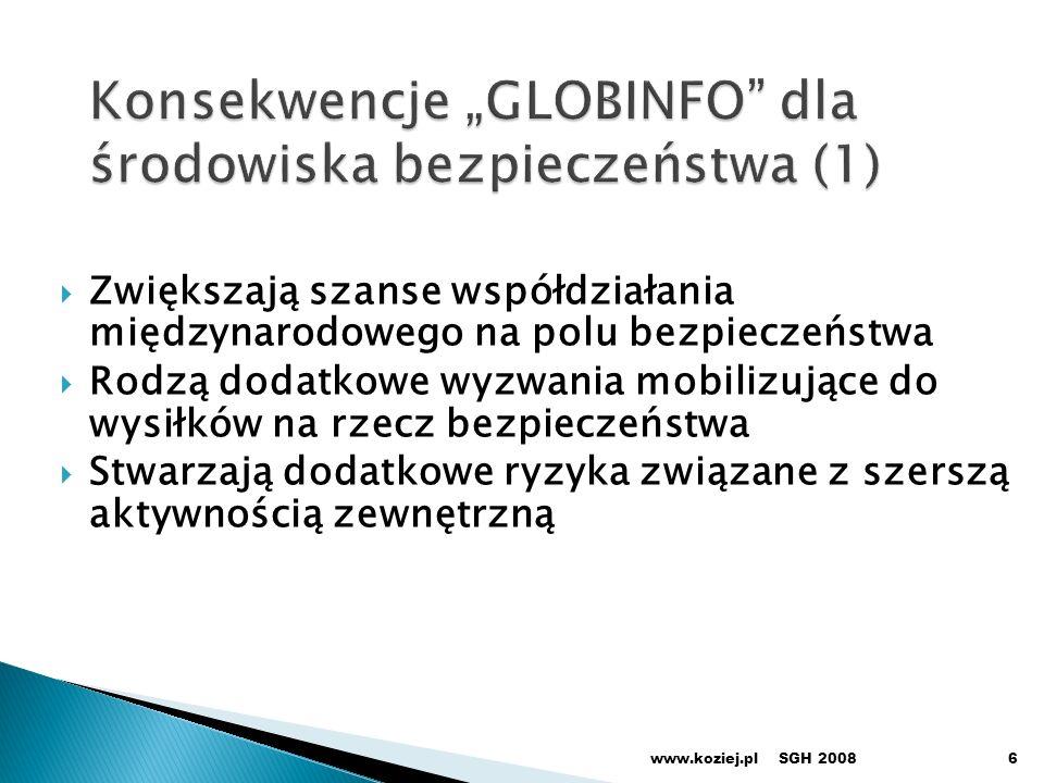 """Konsekwencje """"GLOBINFO dla środowiska bezpieczeństwa (1)"""