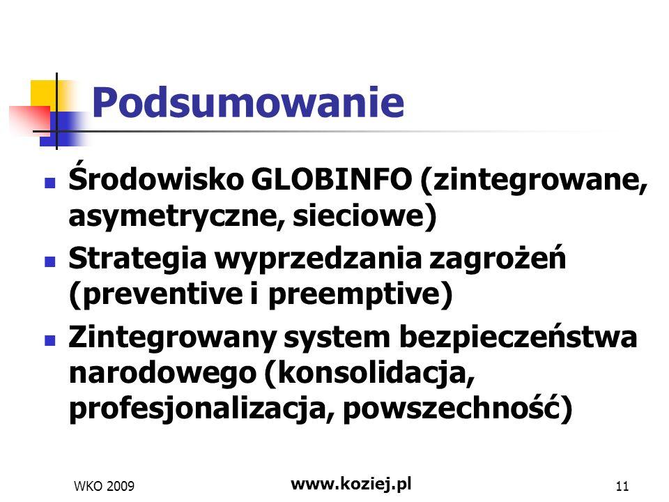 PodsumowanieŚrodowisko GLOBINFO (zintegrowane, asymetryczne, sieciowe) Strategia wyprzedzania zagrożeń (preventive i preemptive)