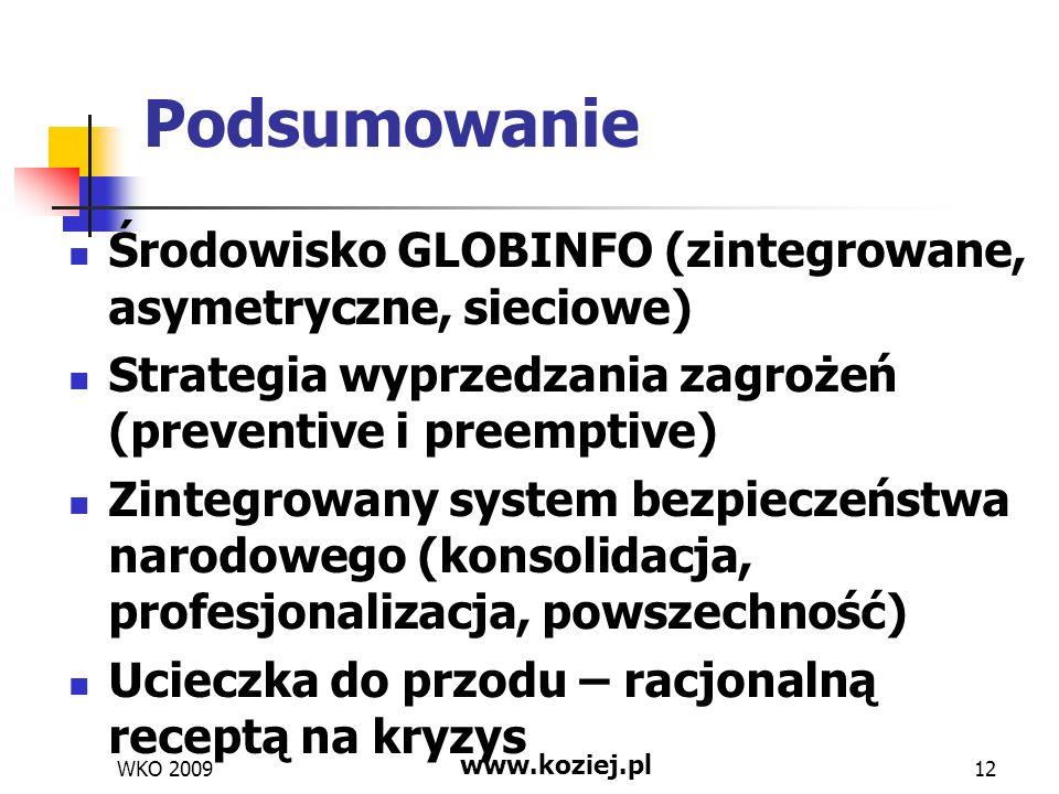 Podsumowanie Środowisko GLOBINFO (zintegrowane, asymetryczne, sieciowe) Strategia wyprzedzania zagrożeń (preventive i preemptive)