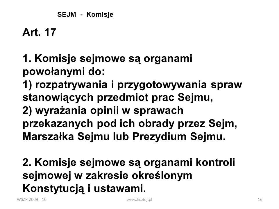 SEJM - KomisjeArt. 17.