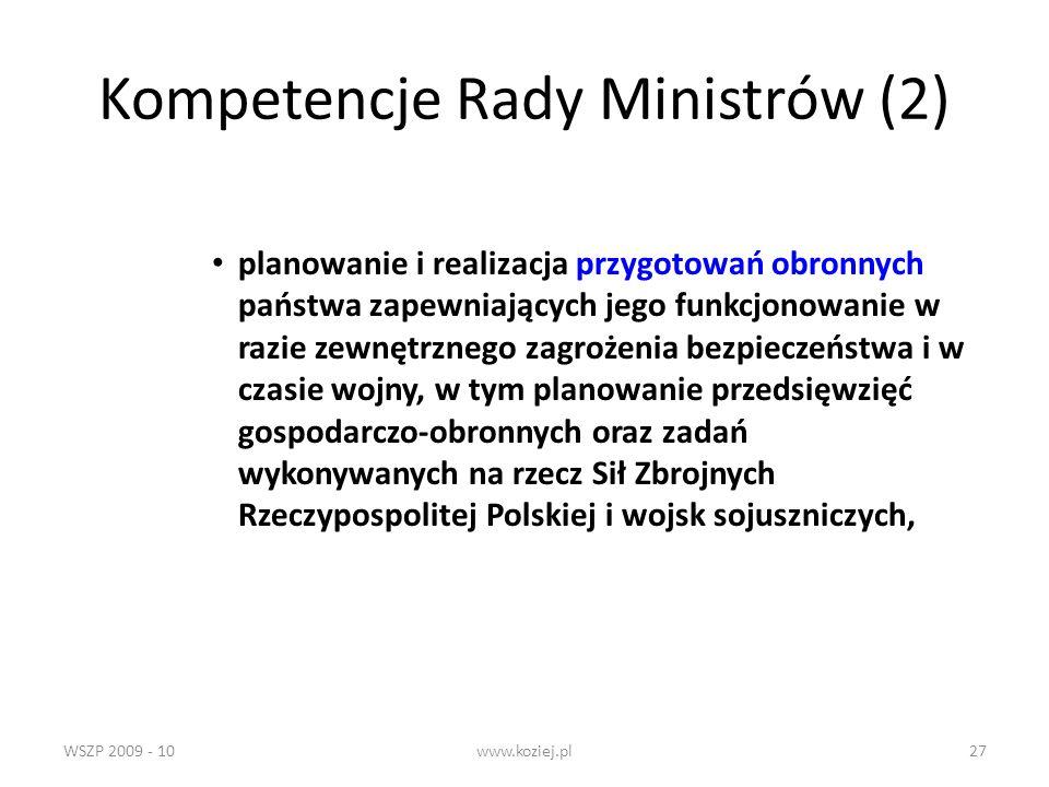 Kompetencje Rady Ministrów (2)