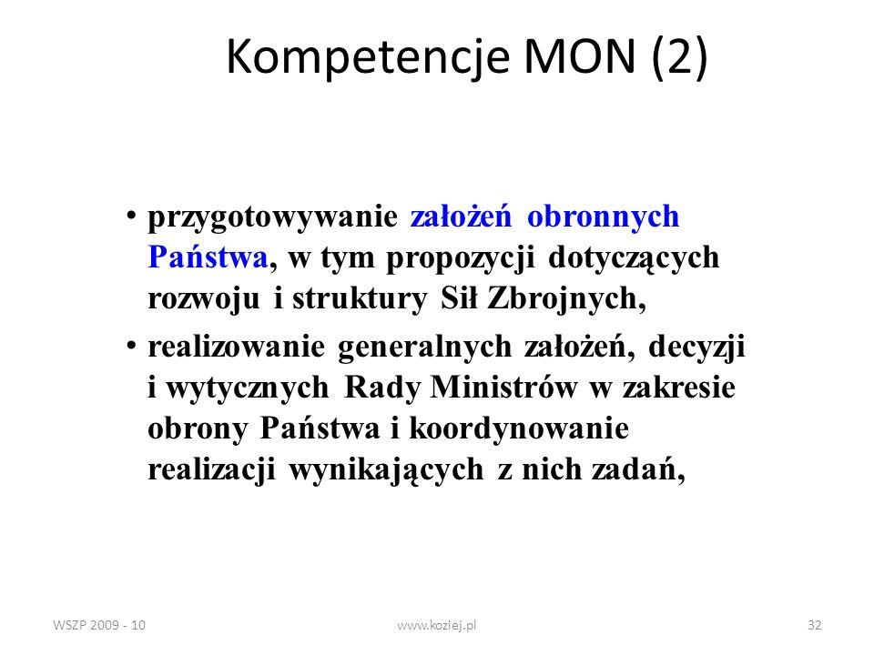 Kompetencje MON (2)przygotowywanie założeń obronnych Państwa, w tym propozycji dotyczących rozwoju i struktury Sił Zbrojnych,