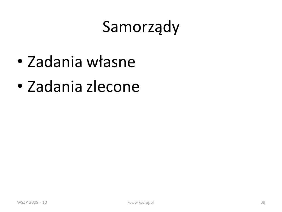 Samorządy Zadania własne Zadania zlecone WSZP 2009 - 10 www.koziej.pl