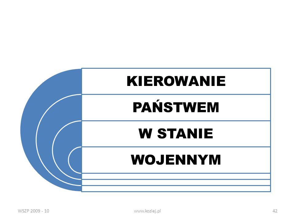 KIEROWANIE PAŃSTWEM W STANIE WOJENNYM WSZP 2009 - 10 www.koziej.pl