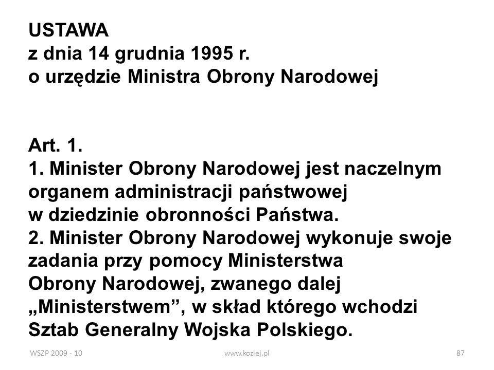 o urzędzie Ministra Obrony Narodowej