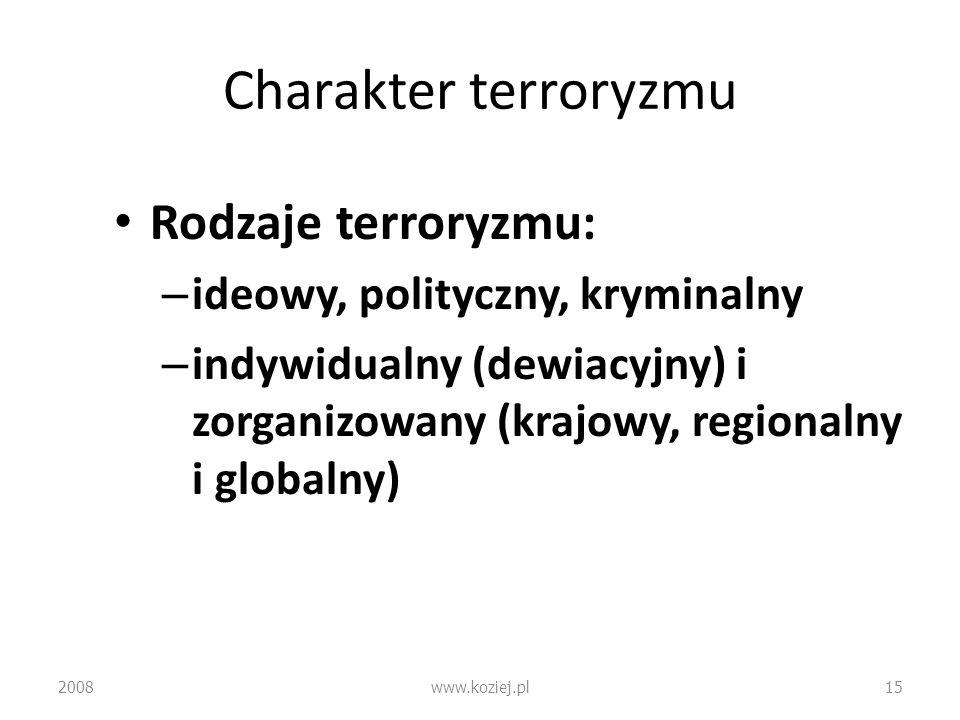 Charakter terroryzmu Rodzaje terroryzmu: