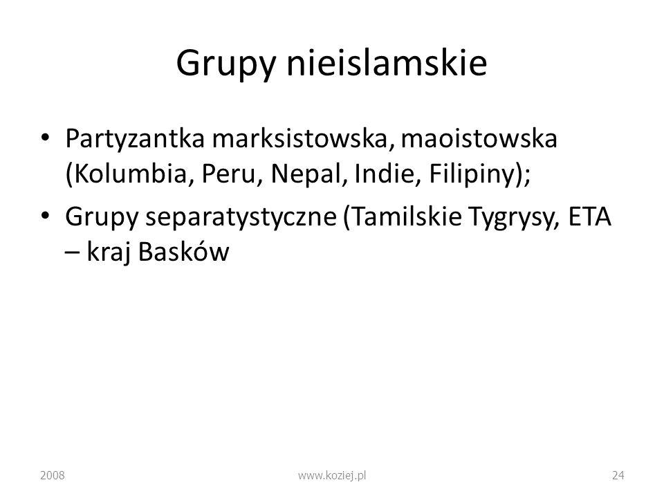 Grupy nieislamskiePartyzantka marksistowska, maoistowska (Kolumbia, Peru, Nepal, Indie, Filipiny);
