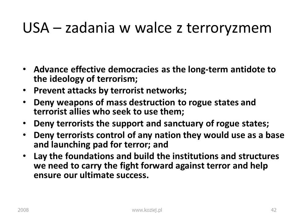 USA – zadania w walce z terroryzmem