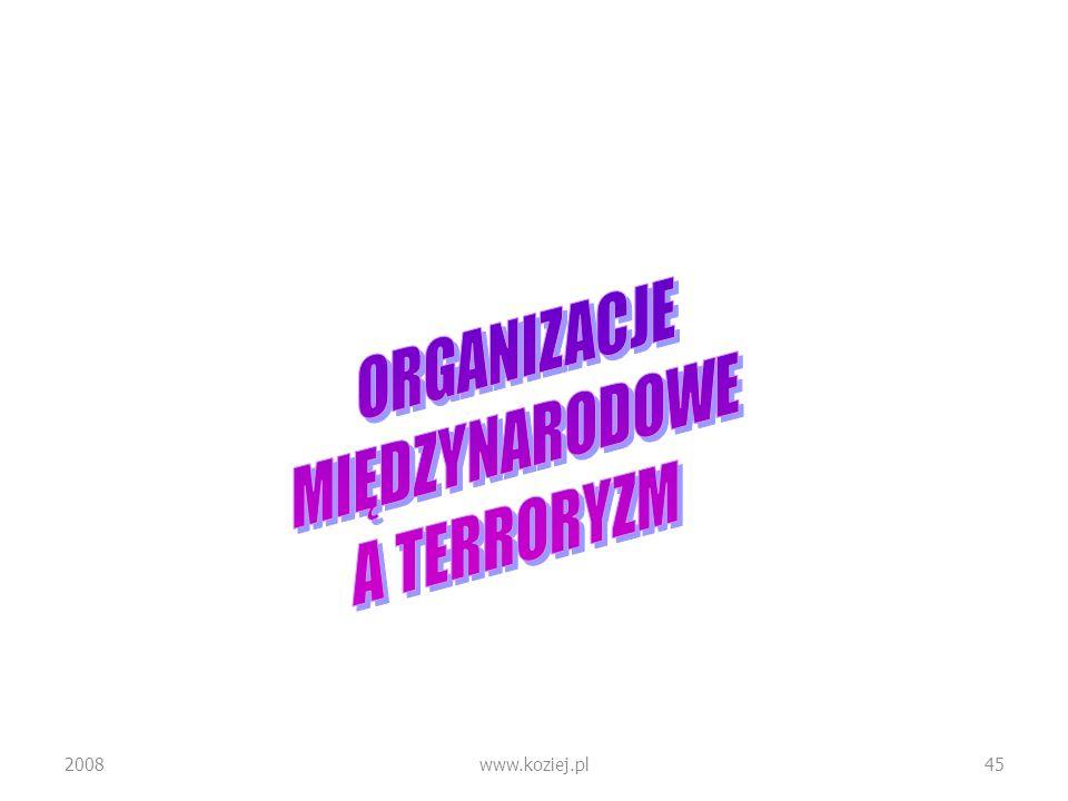 ORGANIZACJE MIĘDZYNARODOWE A TERRORYZM 2008 www.koziej.pl