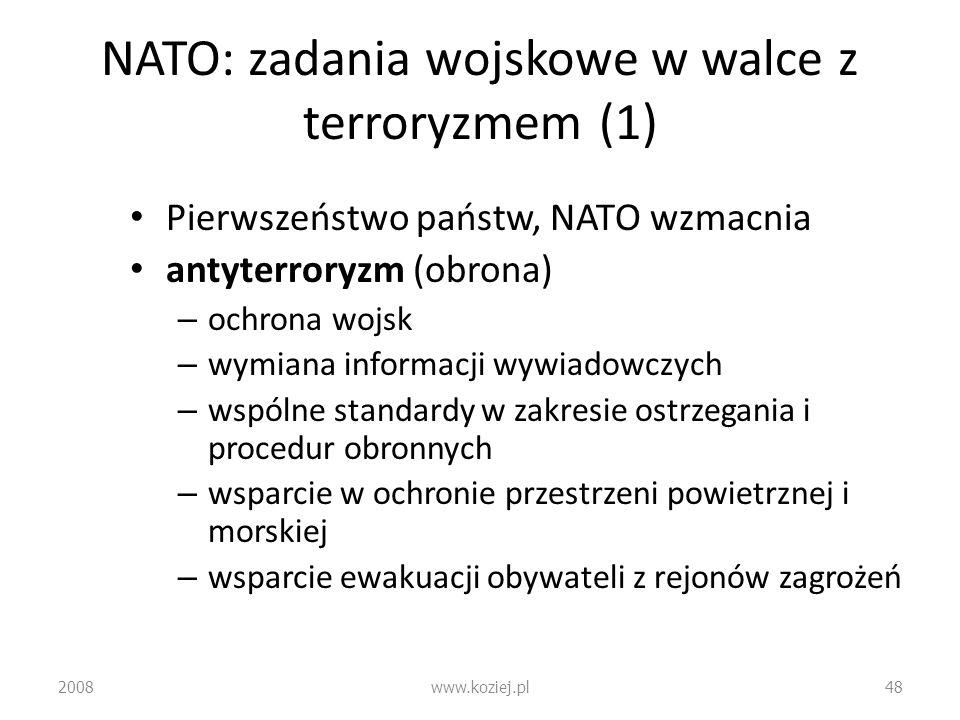 NATO: zadania wojskowe w walce z terroryzmem (1)