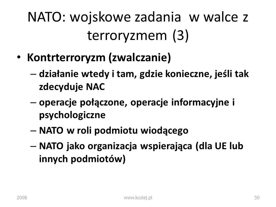 NATO: wojskowe zadania w walce z terroryzmem (3)