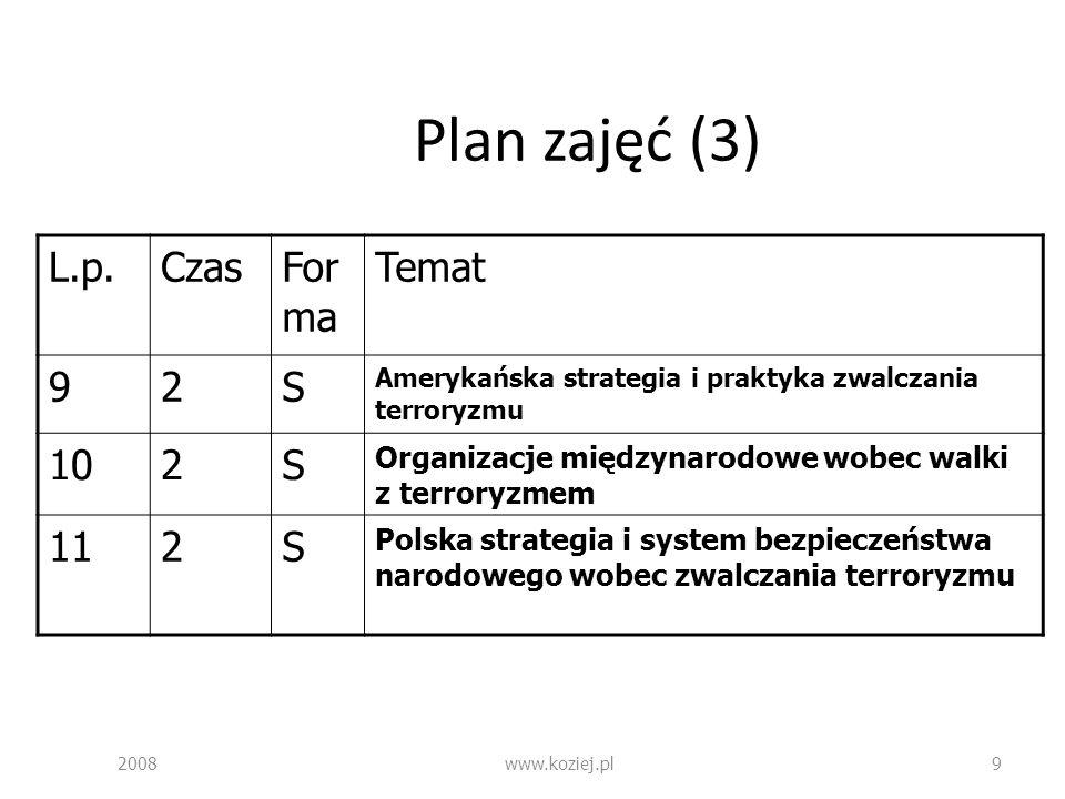 Plan zajęć (3) L.p. Czas Forma Temat 9 2 S 10 11