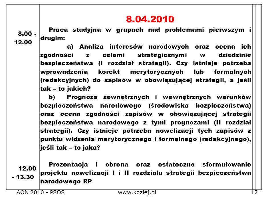 8.04.2010 Praca studyjna w grupach nad problemami pierwszym i drugim: