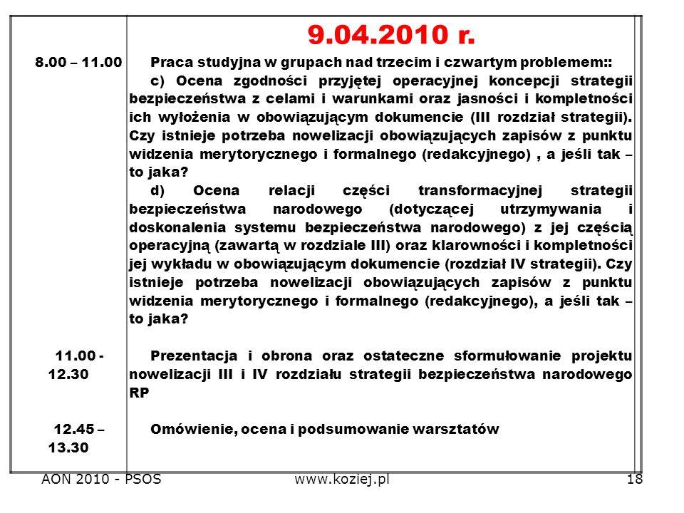 8.00 – 11.00 11.00 - 12.30. 12.45 – 13.30. 9.04.2010 r. Praca studyjna w grupach nad trzecim i czwartym problemem::