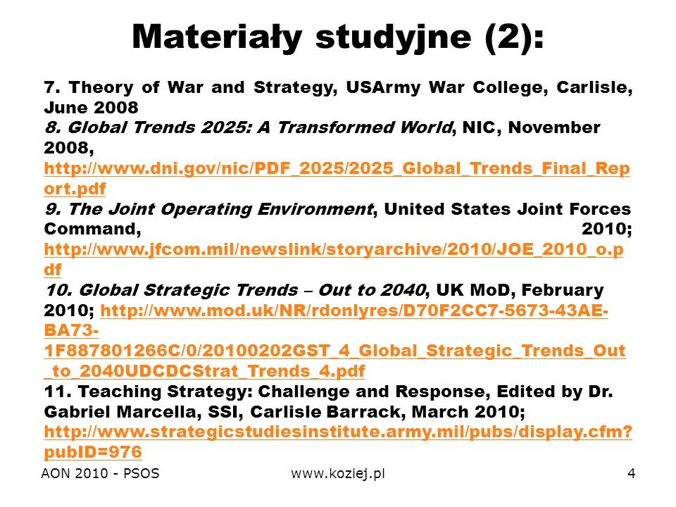 Materiały studyjne (2):