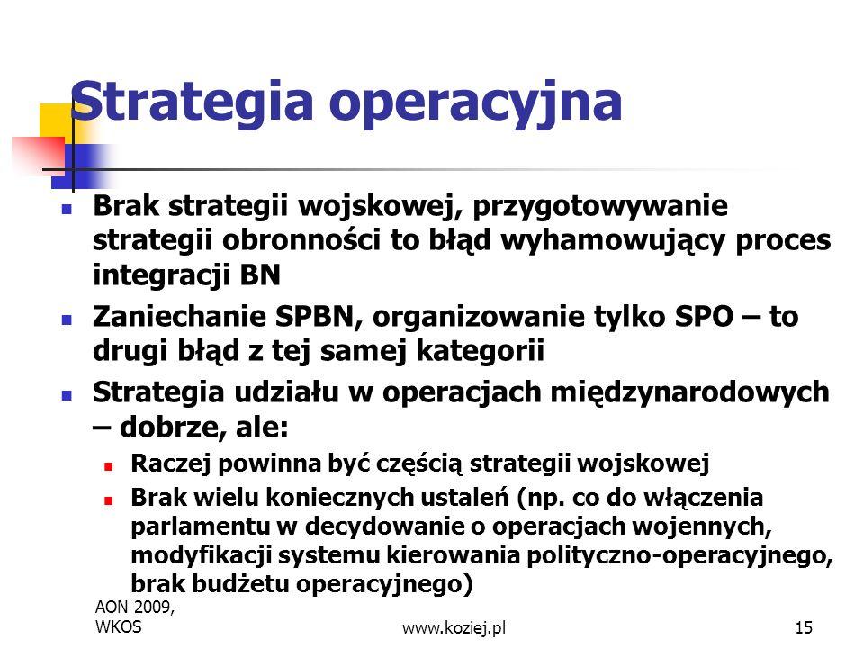 Strategia operacyjna Brak strategii wojskowej, przygotowywanie strategii obronności to błąd wyhamowujący proces integracji BN.