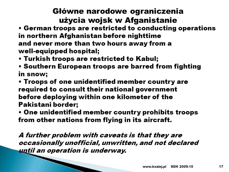 Główne narodowe ograniczenia użycia wojsk w Afganistanie