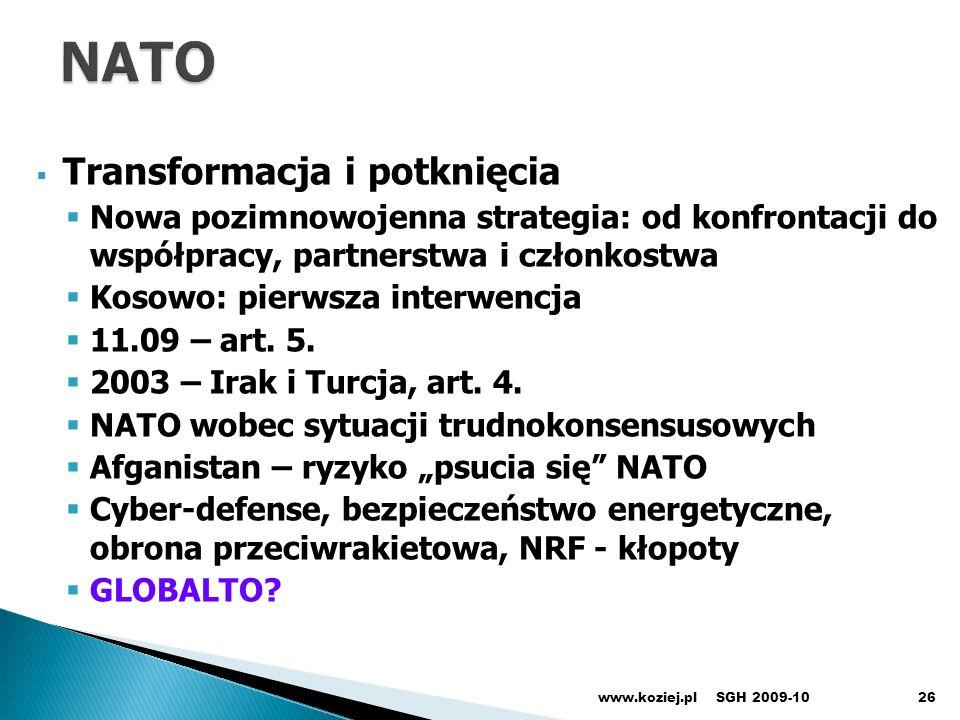 NATO Transformacja i potknięcia
