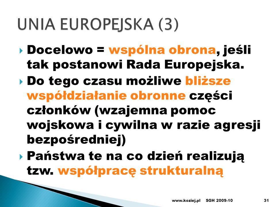 UNIA EUROPEJSKA (3) Docelowo = wspólna obrona, jeśli tak postanowi Rada Europejska.