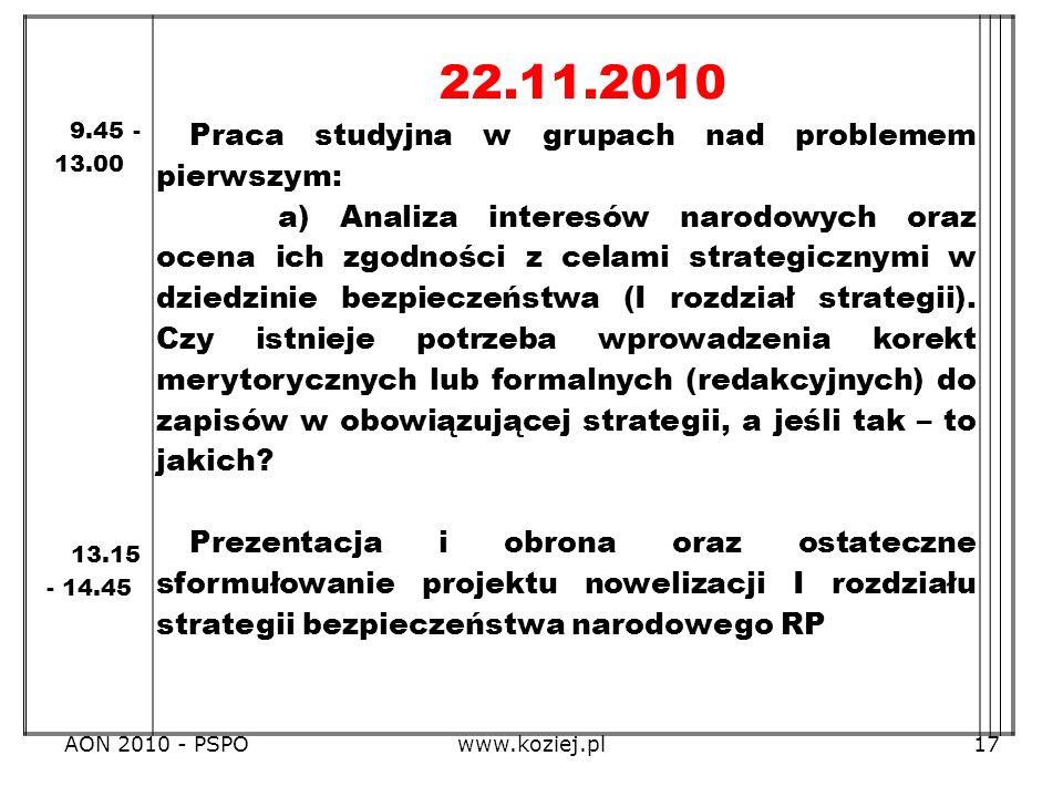 22.11.2010 Praca studyjna w grupach nad problemem pierwszym: