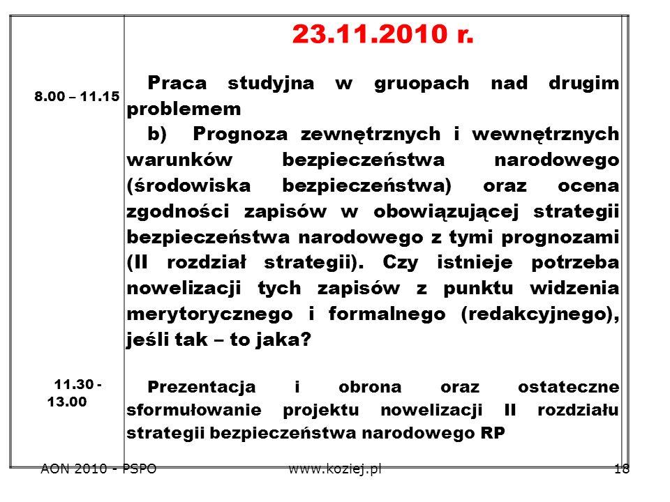 23.11.2010 r. Praca studyjna w gruopach nad drugim problemem
