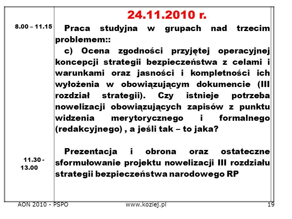 24.11.2010 r. Praca studyjna w grupach nad trzecim problemem::