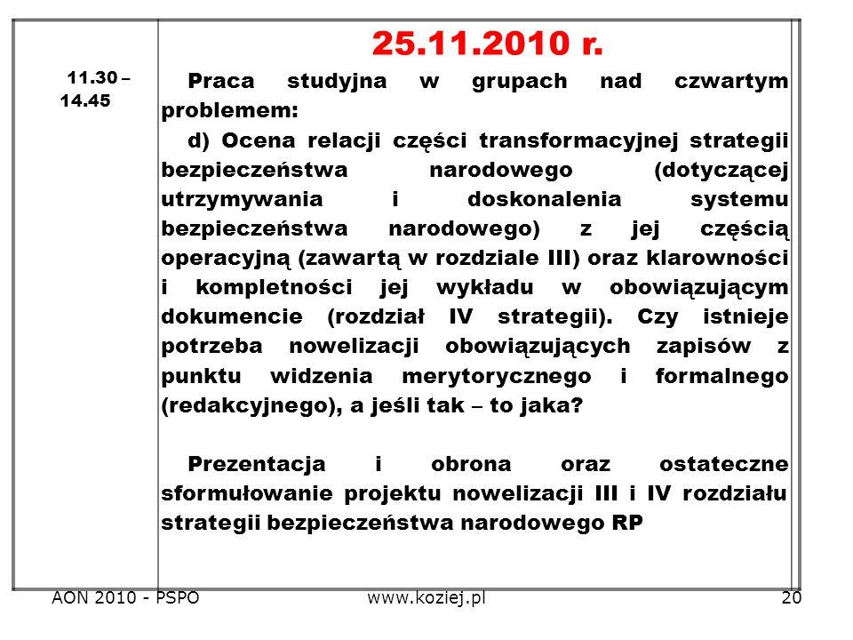 25.11.2010 r. Praca studyjna w grupach nad czwartym problemem: