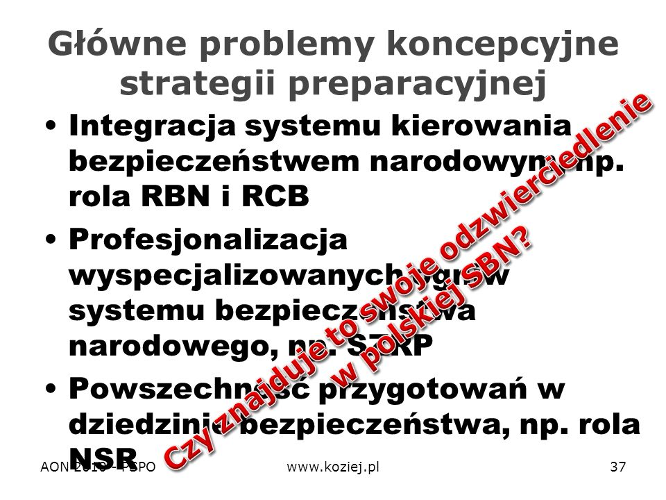 Główne problemy koncepcyjne strategii preparacyjnej