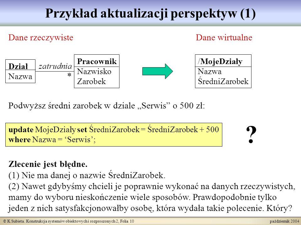 Przykład aktualizacji perspektyw (1)