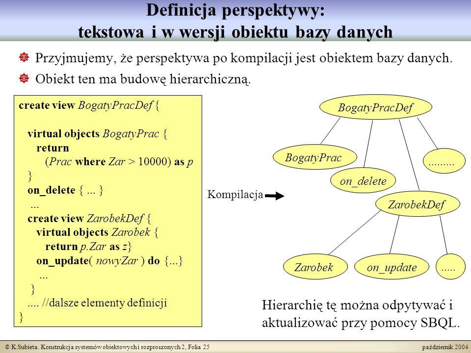 Definicja perspektywy: tekstowa i w wersji obiektu bazy danych