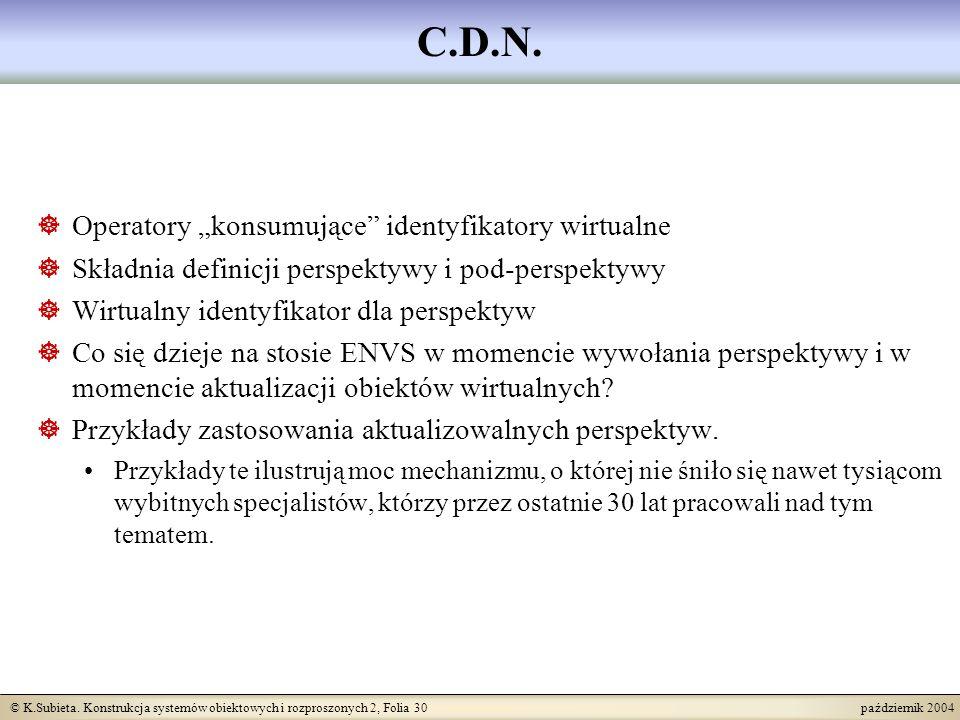 """C.D.N. Operatory """"konsumujące identyfikatory wirtualne"""