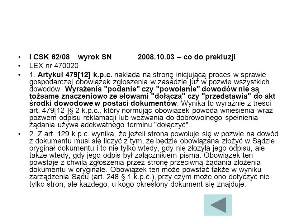 I CSK 62/08 wyrok SN 2008.10.03 – co do prekluzji