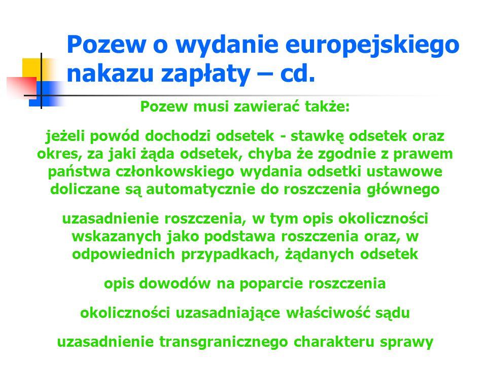 Pozew o wydanie europejskiego nakazu zapłaty – cd.