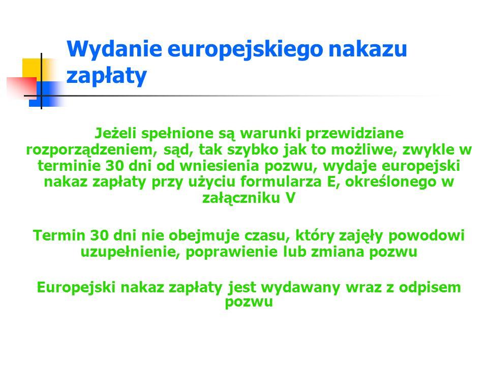 Wydanie europejskiego nakazu zapłaty