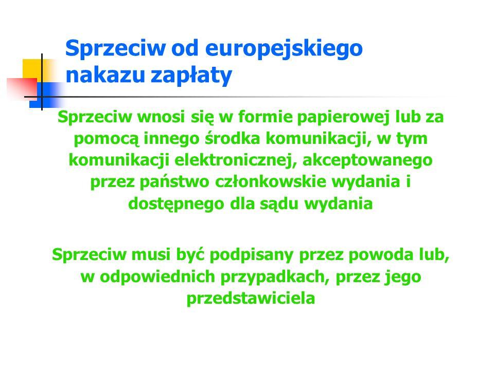 Sprzeciw od europejskiego nakazu zapłaty