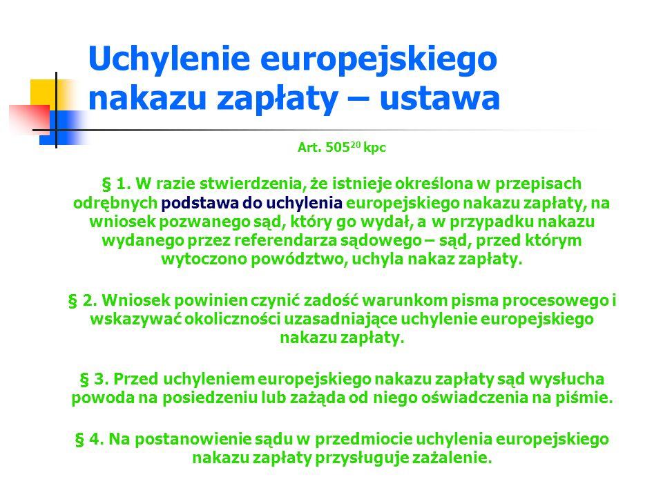 Uchylenie europejskiego nakazu zapłaty – ustawa