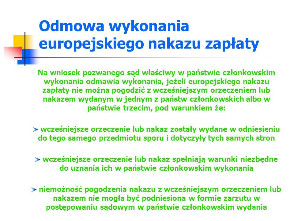 Odmowa wykonania europejskiego nakazu zapłaty