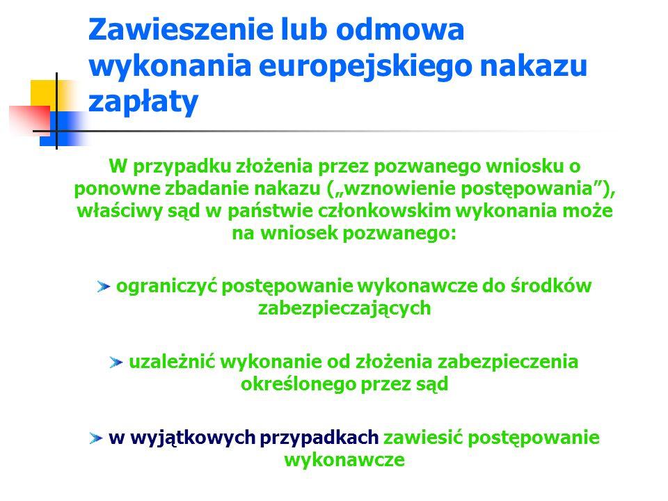 Zawieszenie lub odmowa wykonania europejskiego nakazu zapłaty