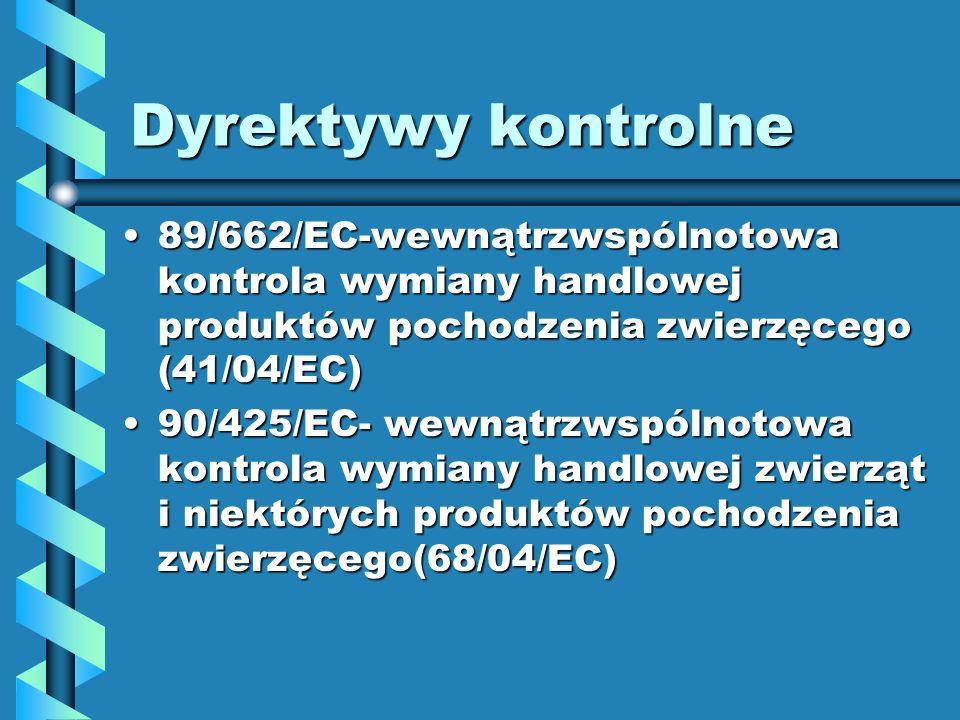 Dyrektywy kontrolne89/662/EC-wewnątrzwspólnotowa kontrola wymiany handlowej produktów pochodzenia zwierzęcego (41/04/EC)