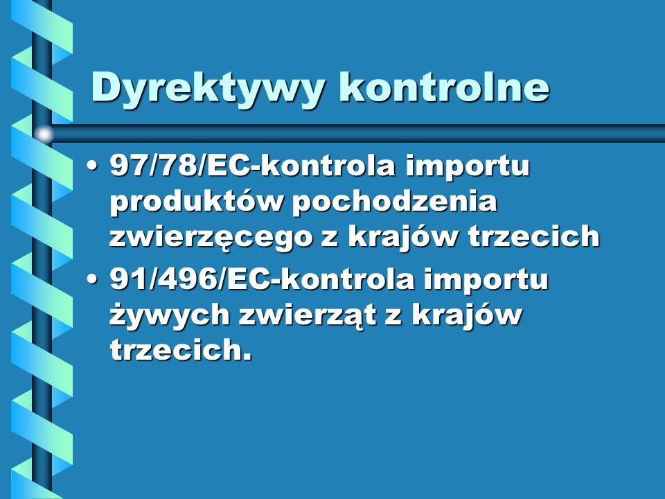 Dyrektywy kontrolne97/78/EC-kontrola importu produktów pochodzenia zwierzęcego z krajów trzecich.