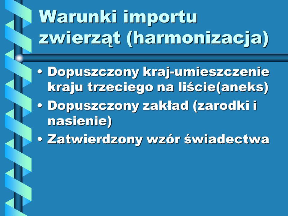 Warunki importu zwierząt (harmonizacja)